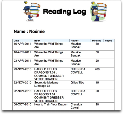 Reading Log Template 3
