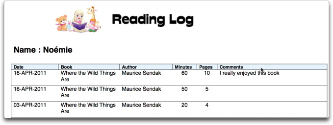 Reading Log Template 4