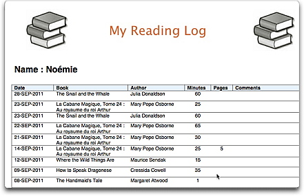 Reading Log Template 5