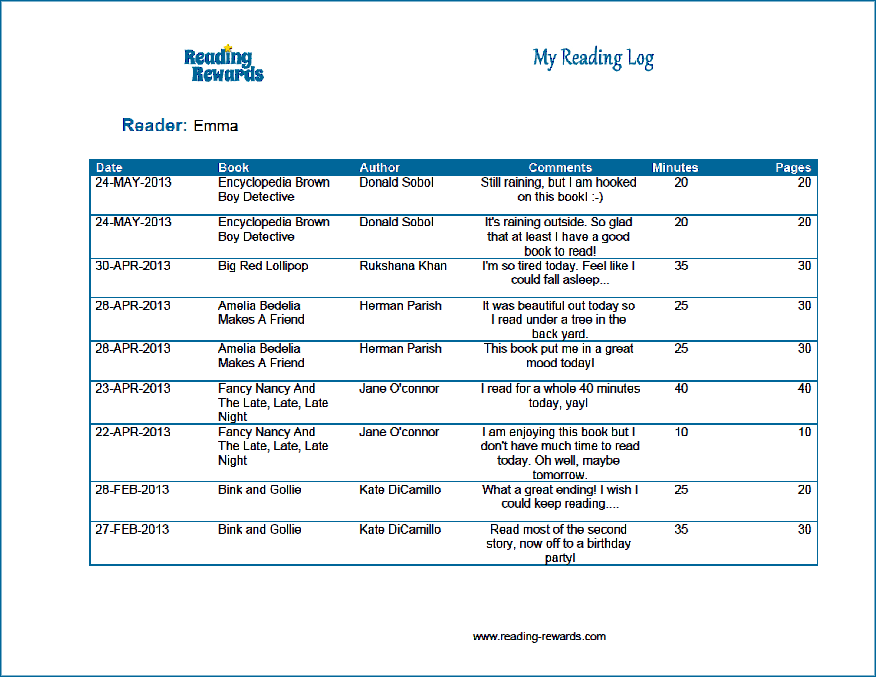 reading log printable