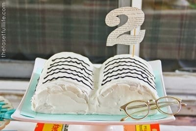 Book club snack idea book cake