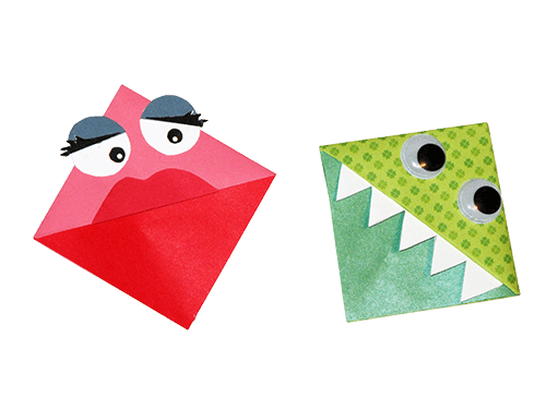 Origami Monster Bookmarks